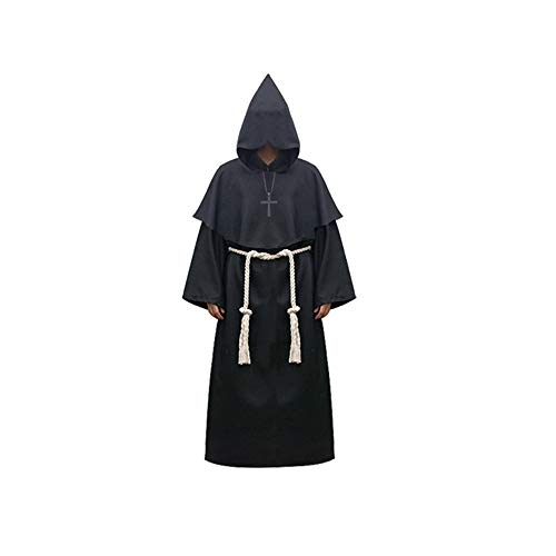 osplay Costume Ancient Medieval Monk Robe Monk Suit Witch Costume Priest Cos Clothing (XXL, Thin Section - Black) ()