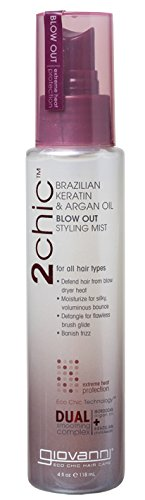 Giovanni 2chic Brazilian Keratin and Argan Oil Blow Out Styling Mist Spray, 4 Fluid Ounce from GIOVANNI