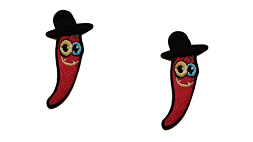 (2 pieces MEXICAN CHILI Iron On Patch Fabric Applique Chilli Motif Children Mexico Food Peppers Decal 2.8 x 1.9 inches (7.2 x 5 cm))