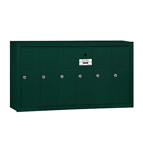 Mailbox, USPS, 6 Doors, Green, 19in H, 40 lb