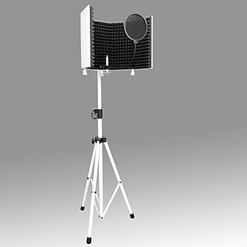 AxcessAbles SF-101KIT-W White Recording Studio Microphone Isolation Shield w/Stand