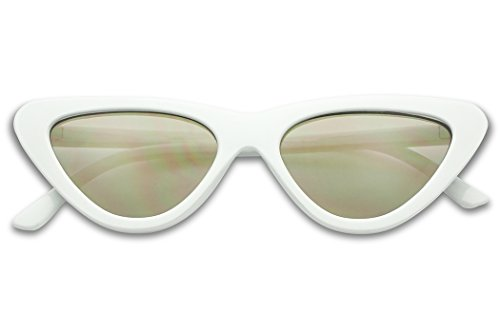 SunglassUP Slim 1990's Streamlined Narrow Flat Lens Cat Eye Mirrored Sunglasses (White Frame | - Milf Sunglasses