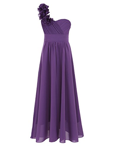 TiaoBug One-Shoulder Chiffon Flower Girl Dress Ruched Pleated High-Waisted Wedding Bridesmaid Prom Evening Event Long Gown Purple 8