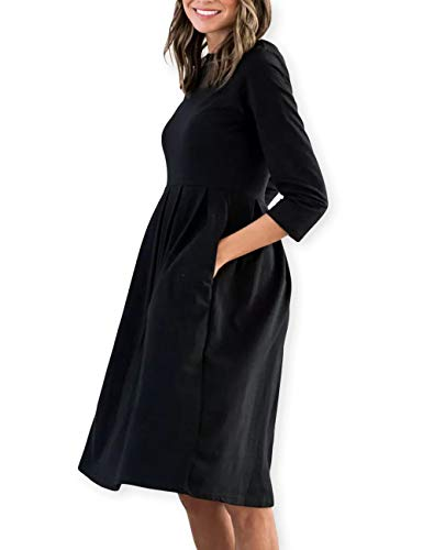 Pleat Stripes Cotton with Casual 3 Black AOOKSMERY Pocket Women Mid O Neck Dresses Dress Sleeve Dark 4 xEqHHIPW