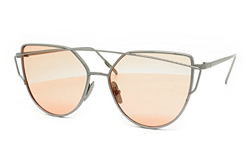 O2 Eyewear 842 Premium Oversized Cat Eye Tinted Flat Lenses Retro Street Fashion Metal Frame Women Sunglasses (SILVER/PINK, - Women For Eyewear Fashion
