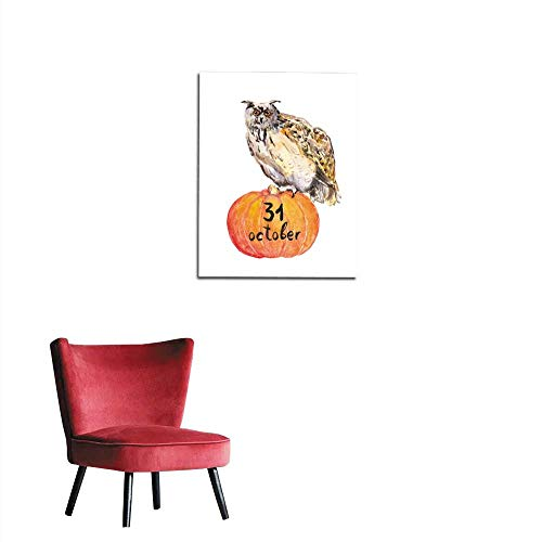 longbuyer Wall Sticker Decals Owl on Pumpkin Halloween Watercolor Mural 16