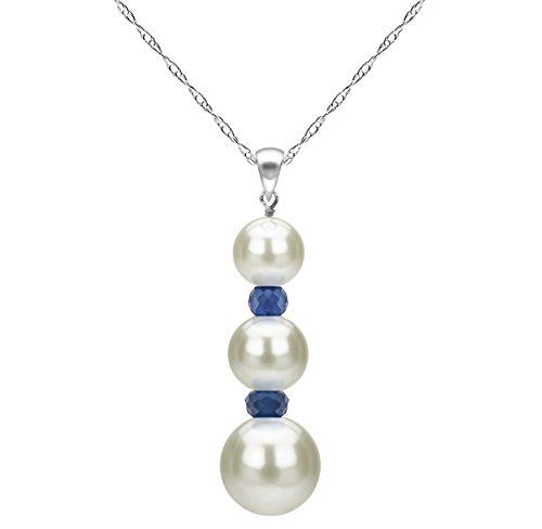 La Regis Jewelry 14k White Gold Freshwater Cultured White Pearl and Simulated Blue Sapphire Pendant Necklace 18 inches