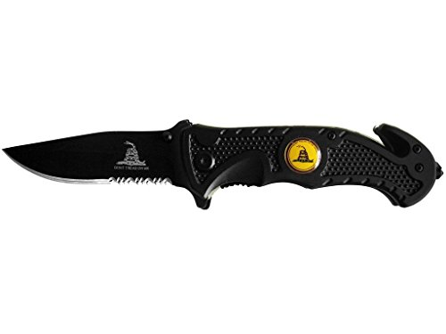 Rogue-River-Tactical-Knives-US-Marine-Corps-Dont-Tread-On-Me-Spring-Assisted-Rescue-Pocket-Knife-Black-Tactical-Grip-Drop-Point-Blade-Gadsden-Flag-Patriot-Military