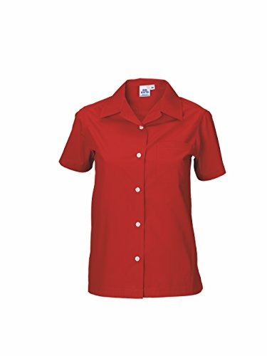 SKOOL ZONE Maui Poplin Work Utility Button-Down Shirt Solid Color - Uniform Business Embroider Ready (S Women, Red Short Sleeve)