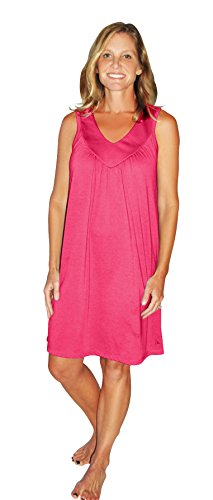 Cool-jams Moisture Wicking Gathered Tank Nightgown(S-2X) (Small(4/6), Pink-Rose)