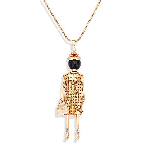 MOLOCH Handmade Doll Necklace Statement Dress Handbag Pendant Necklace Alloy Crystal Cute Girl Figure Long Necklace for Women Girls (Gold)