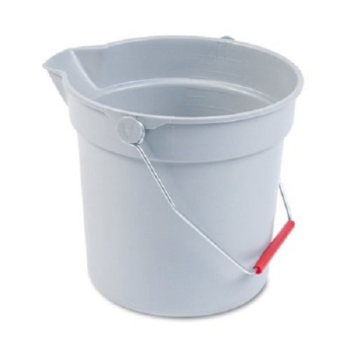 Rubbermaid Commercial 10-Quart BRUTE Round Utility Pail, Plastic, 10 1/2dia x 10 1/4h, Gray - Includes one each. (Bucket Utility Round)