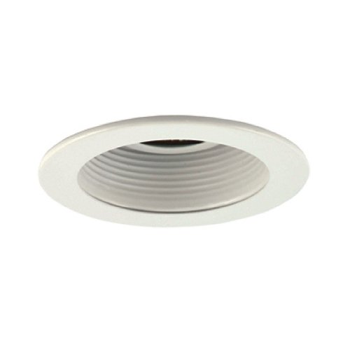 Jesco Lighting TM401WHWH 4-Inch Aperture Low Voltage Trim Recessed Light, Adjustable Step Baffle, All White Finish
