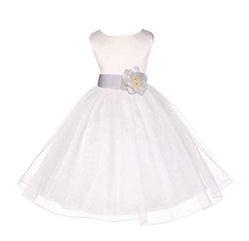 ekidsbridal Ivory Satin Bodice Organza Skirt Flower Girl Dress Bridesmaid Dresses 841S 4
