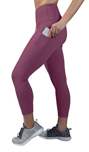 90 Degree By Reflex High Waist Squat Proof Yoga Capri Leggings with Side Phone Pockets - Vintage Magenta - Medium