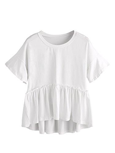 Romwe Women's Loose Ruffle Hem Short Sleeve High Low Peplum Blouse Top White -