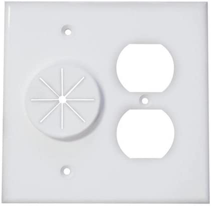White Midlite Double Gang Cable Pass Through Wall Plate with Dual Outlet Cover