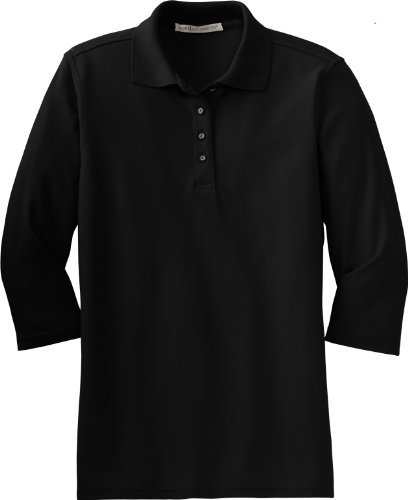Port Authority Women's Silk Touch 3/4, Sleeve Sport Shirt, black, X-Large