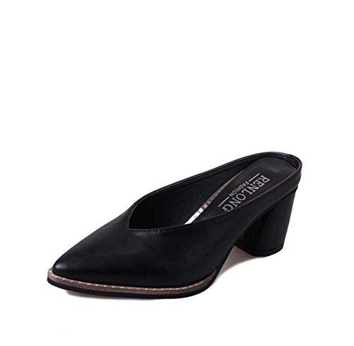 Toe Talla Black 39 Pointed Block Mujer de Heel Summer Informal Negro y Zapatillas 34 Green Vestimenta para Yellow Chanclas Comfort UqxwZY0Uca
