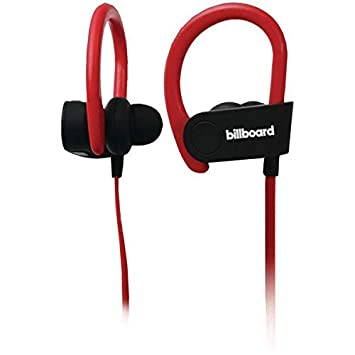 63b9758bd6b Amazon.com: Billboard Bb897 Bluetooth(r) Earhook Earbuds With Microphone ( black/red): BILLBOARD: Beauty