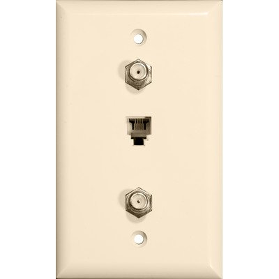 Morris 85033 Dual F Connector and Single RJ11 4 Conductor Phone Jack Wall Plate, Almond