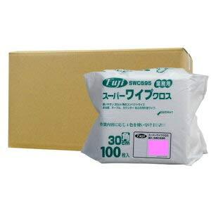 スーパーワイプクロス袋入 薄手 ピンク 30cm角【958200】100枚×18袋/ケース B07QKH3JG7