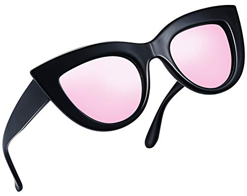 Joopin Retro Polarized Cateye Sunglasses - Women Vintage Cat Eye Sun Glasses UV400 Protection E8022 (Black Frame Pink Lens)