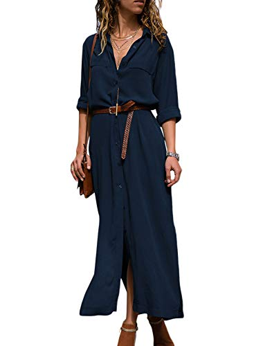 HOTAPEI Casual Loose V-Neck Roll up Sleeve Sexy Front Slit Solid Chiffon Long Maxi Dress Romantic Summer Button Shirt Dresses for Women Navy M ()