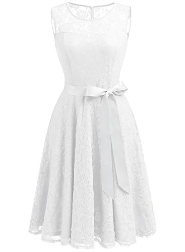 (Dressystar 0009 Floral Lace Dress Short Bridesmaid Dresses with Sheer Neckline XS White)