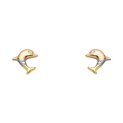 Ioka - 14K Tri Color Gold Fancy Dolphin Stud Earrings