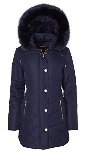 Sportoli Women's Longer Length Plush Lined Puffer Coat and Zip-Off Detacheable Fur...