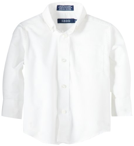 Izod boys Long Sleeve Solid Button-Down Oxford Shirt, White, 3T/3 -