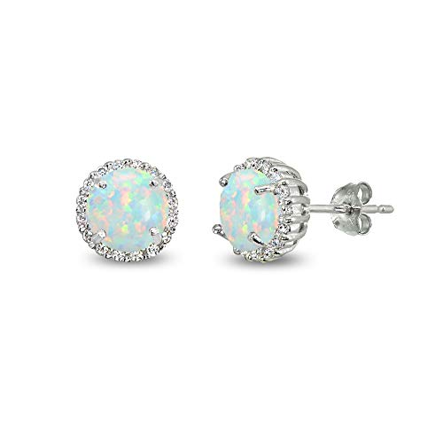 Sterling Silver Simulated White Opal & Cubic Zirconia 6mm Round-cut Halo Stud Earrings ()