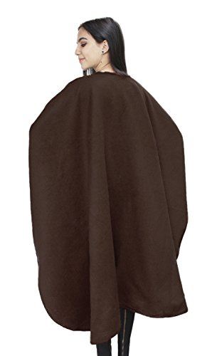 Womens Soft Alpaca Wool Woven Lined Cape Ruana Poncho Wrap (Brown)