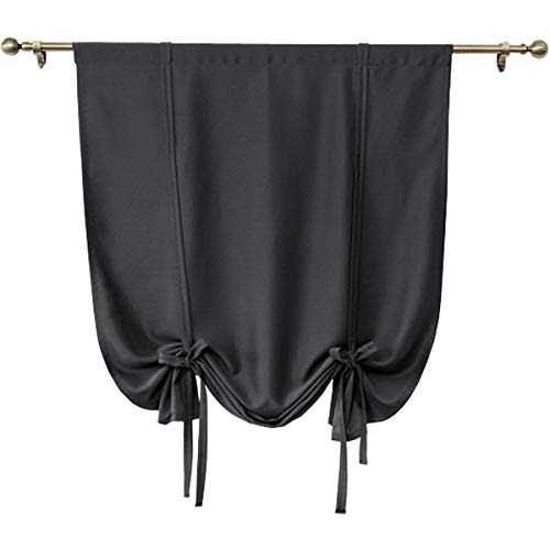Solid Black Blackout Curtain,Tie Up Shades Thermal Insulated Drapes Panels for Small Window Valance,Balloon Room Darkening Privacy Curtain for Kitchen,Nursery,Bedroom Living Room,32x55 inch Long