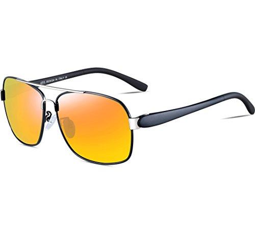 Sol ATTCL De Súper Amarillo Polarizado Rectangulares Uv400 Metal Gafas Ligero Hombre Marco De ZZBqIOC