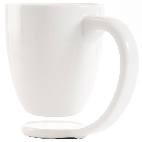 Plain White Porcelain Mug and Handle