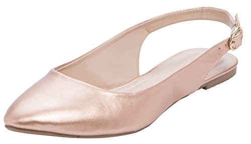 Cambridge Select Women's Closed Pointed Toe Buckled Slingback Flat (7.5 B(M) US, Rose Gold PU) ()
