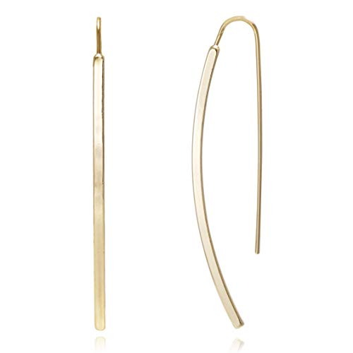 Long Curved & Linear Metal Bar Drop Threader Earrings for Women