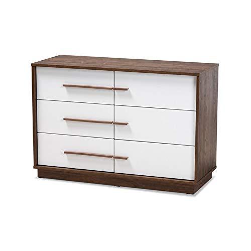 Baxton Studio Mette White Walnut Finished 6-Drawer Wood Dresser