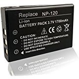 Mattery NP-120 Li-ion Battery 3.7V 1700mAh Rechargeable Battery Suitable for KINGEAR HDV-D395 Night Vision Digital Video Camcorders