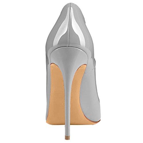 A 12CM Scarpe Cahen Scivolare Tacco Tacco Calaier Donna su Calzature Grigio Spillo col xqBapCIw
