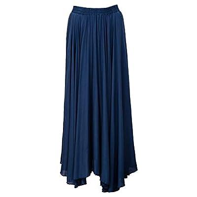 Amazhiyu Women Swing Skirt Mid Length Cotton Linen Flowing Skirt Elastic Waist Boho Style for Autumn Summer