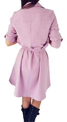 Cruiize Femmes Bouton Ceinturé En Bas Plissé Revers Dessus De Chemise Blouse Mince Robe Violette