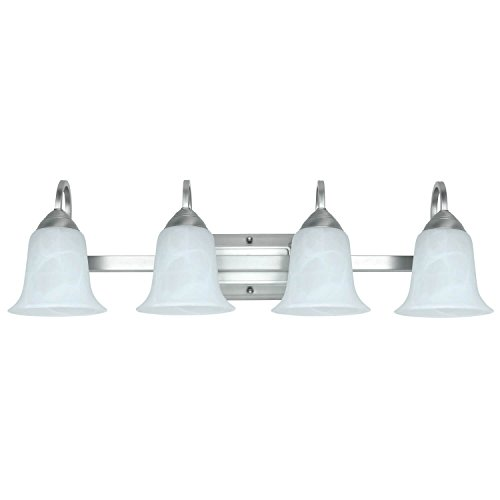 Feit Electric LED 4-Light LED Brushed Nickel Vanity with Alabaster Glass Pack of 4