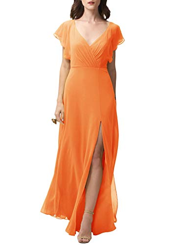 Ufashion Women's V Neck Open Back Ruffled Bridesmaid Dress Long Formal Party Dress with Slit Orange US14