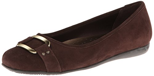 Trotters Women's Sizzle Signature Flat,Dark Brown Kid Suede,US 8.5 W