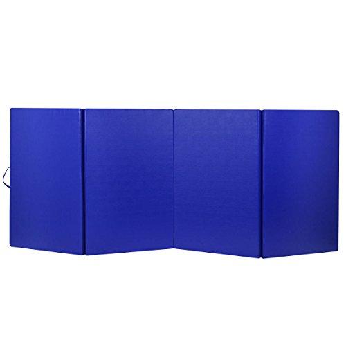 4'x10'x2 Gymnastics Mat Gym Folding Exercise Mats Stretching Yoga Blue with Ebook