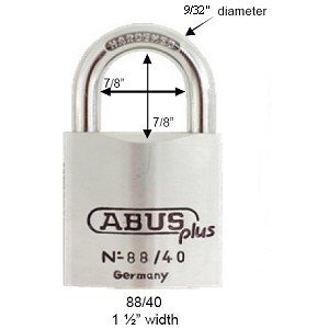 (Abus Plus 88 Series Brass Padlock 40mm, Keyed Different)