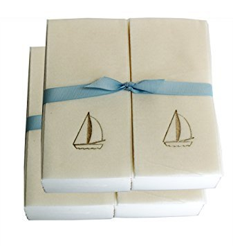 Disposable Guest Hand Towels with Ribbon - Embossed with a Gold Sailboat - 50ct